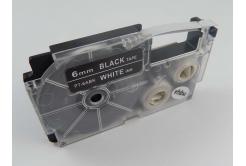 Kompatibilní páska s Casio XR-6ABK, 6mm x 8m bílý tisk / černý podklad