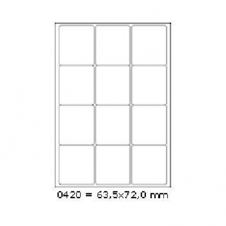 Selfadhesive labels 63,5 x 72 mm, 12 labels, A4, 100 sheets