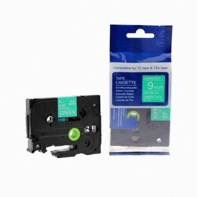 Kompatibilní páska s Brother TZ-725 / TZe-725, 9mm x 8m, bílý tisk / zelený podklad