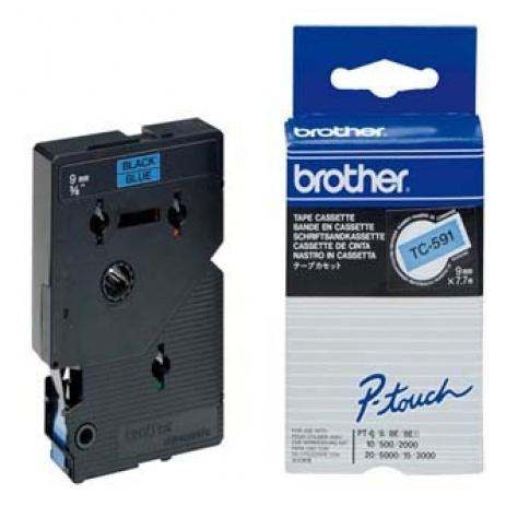 Brother TC-591, 9mm x 7,7m, czarny druk / niebieski podkład, taśma oryginalna