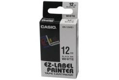 Casio XR-12WE1, 12mm x 8m, černý tisk/bílý podklad, originální páska