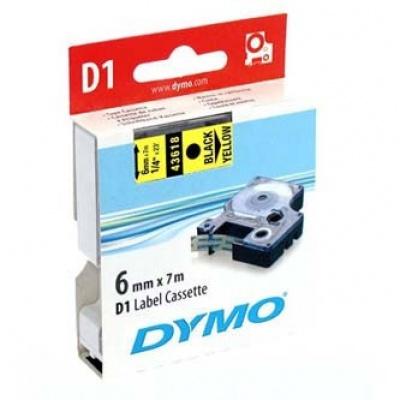 Dymo D1 43618, S0720790, 6 mm x 7m, černý tisk/žlutý podklad, originální páska