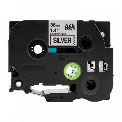 Kompatibilní páska s Brother TZ-961 / TZe-961, 36mm x 8m, černý tisk / stříbrný podklad