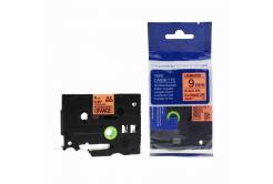 Kompatibilní páska s Brother TZ-B21/TZe-B21, signální 9mm x 8m, černý tisk/oranž. podklad