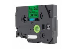 Kompatibilní páska s Brother TZ-FX721 / TZe-FX721, 9mm x 8m, flexi, černý tisk / zelený po