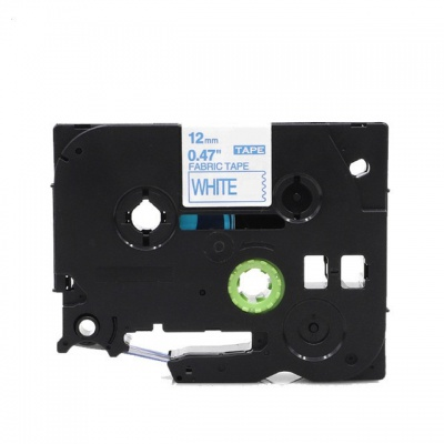 Kompatibilní páska s Brother TZe-FA3, 12mm x 3m, modrý tisk / bílý podklad, zažehlovací