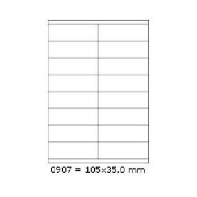 Samolepicí etikety 105 x 35 mm, 16 etiket, A4, 100 listů