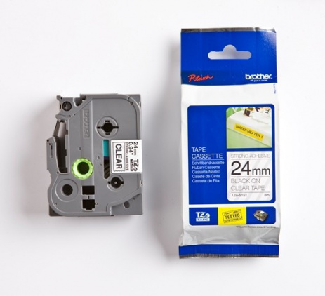 Brother TZ-S151 / TZe-S151, 24mm x 8m, černý tisk/průsvitný podklad, originální páska