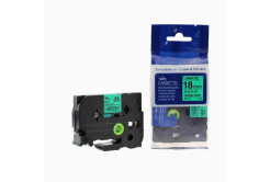 Kompatibilní páska s Brother TZ-741 / TZe-741, 18mm x 8m, černý tisk / zelený podklad