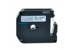Kompatibilní páska s Brother MK-131, 12mm x 8m, černý tisk / průhledný podklad
