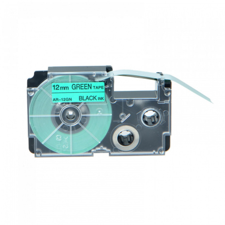 Compatible with tape Casio XR-12GN1, 12 mm x 8m black printing / green background