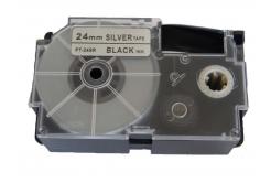 Kompatibilní páska s Casio XR-24SR1 24mm x 8m černý tisk / stříbrný podklad