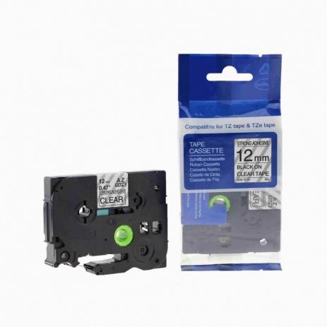 Kompatibilná páska s Brother TZ-S131/TZe-S131 12mm x 8m extr.adh. čierna tlač/priehľadný podklad
