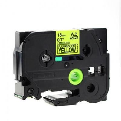 Kompatibilní páska s Brother TZ-C41/TZe-C41, signální 18mm x 8m, černý tisk/žlutý podklad