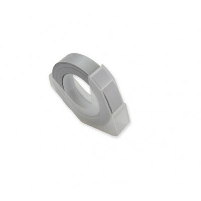 Dymo Omega, 9mm x 3m, bílý tisk / stříbrný podklad, kompatibilní páska