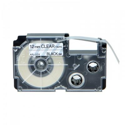 Kompatibilní páska s Casio XR-12X1, 12mm x 8m černý tisk / průhledný podklad