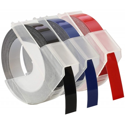 Kompatibilní páska s Dymo S0847750, 9mm x 3 m, bílý tisk/černý, modrý, červená