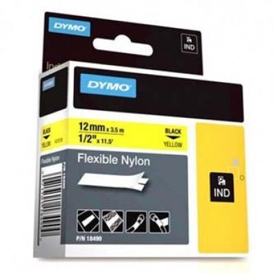 Dymo Rhino 18490, S0718080, 12mm x 3,5m černý tisk / žlutý podklad, originální páska