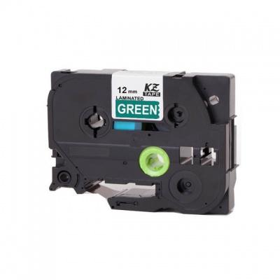 Kompatibilní páska s Brother TZ-735 / TZe-735, 12mm x 8m, bílý tisk / zelený podklad