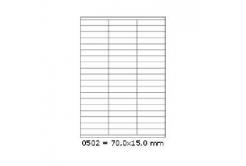 Samolepicí etikety 70 x 15 mm, 57 etiket, A4, 100 listů