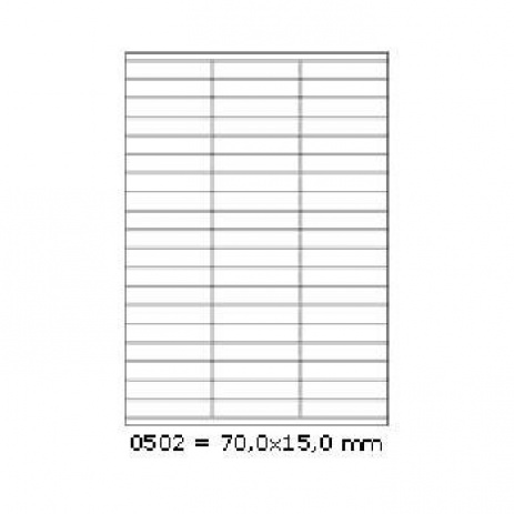 Selfadhesive labels 70 x 15 mm, 57 labels, A4, 100 sheets