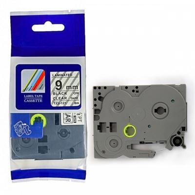 Kompatibilní páska s Brother TZ-FX121 / TZe-FX121, 9mm x 8m, flexi, černý tisk / průhledný