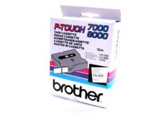 Brother TX-251, 24mm x 15m, czarny druk / biały podkład, taśma oryginalna