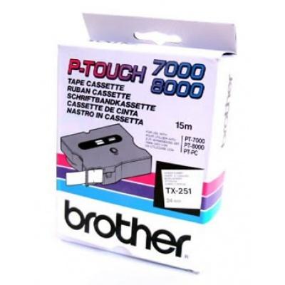 Brother TX-251, 24mm x 15m, černý tisk / bílý podklad, originální páska
