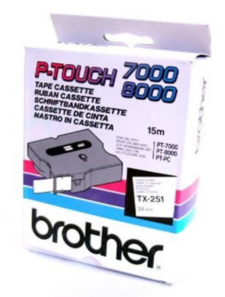 Brother TX-251, 24mm x 15m, black text / white tape, original tape