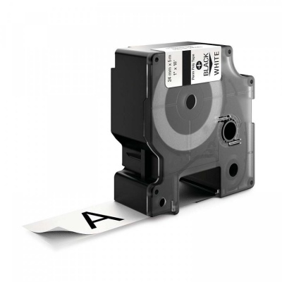 Kompatibilní páska s Dymo 1734523, 24mm x 5, 5m černý tisk / bílý podklad, polyester