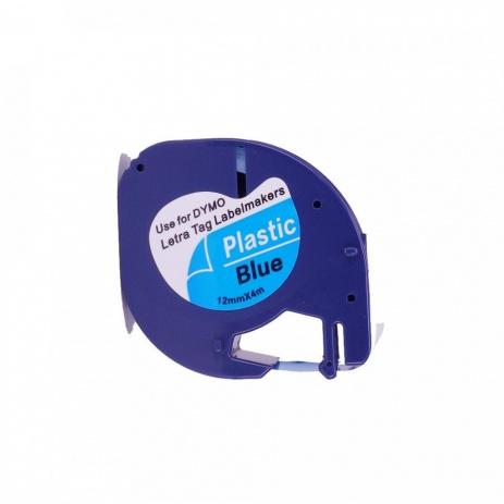 Kompatibilní páska s Dymo 59426, S0721600, 12mm x 4m, černý tisk / modrý podklad