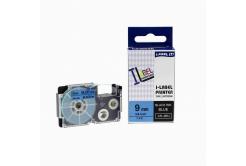 Kompatibilní páska s Casio XR-9BU1, 9mm x 8m černý tisk / modrý podklad