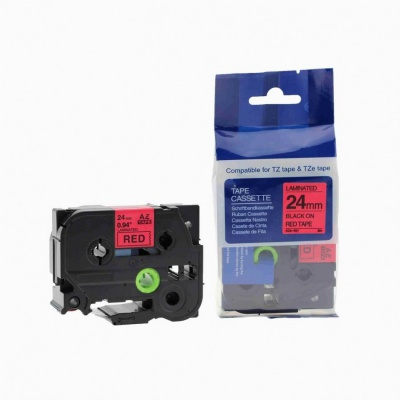Kompatibilní páska s Brother TZ-451 / TZe-451, 24mm x 8m, černý tisk / červený podklad