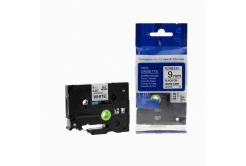 Kompatibilní páska s Brother TZ-FX221/TZe-FX221, 9mm x 8m, flexi, černý tisk/bílý podklad