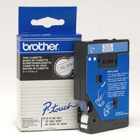 Brother TC-293, 9mm x 7,7m, blue text / white tape, original tape
