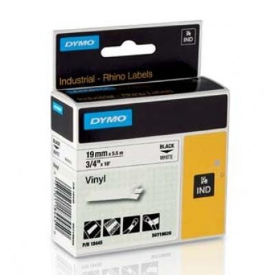 Dymo Rhino 18445, S0718620, 19mm x 5,5m černý tisk / bílý podklad, originální páska