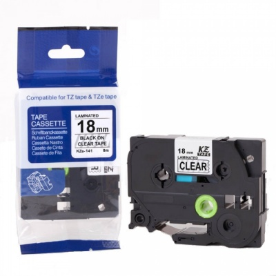 Kompatibilní páska s Brother TZ-S141/TZe-S141, 18mm x 8m,extr.adh. černý tisk/čirý podklad