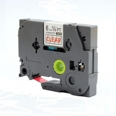 Kompatibilní páska s Brother TZ-112 / TZe-112, 6mm x 8m, červený tisk / průhledný podklad