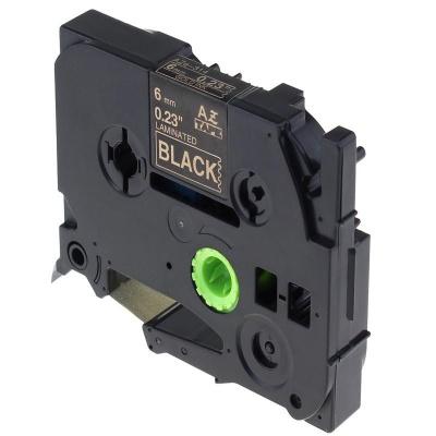 Kompatibilní páska s Brother TZ-314 / TZe-314, 6mm x 8m, zlatý tisk / černý podklad