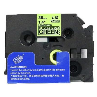 Kompatibilní páska s Brother TZ-D61/TZe-D61, signální 36mm x 8m, černý tisk/zelený podklad