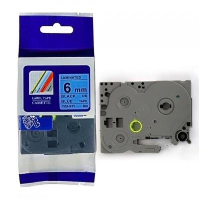 Kompatibilní páska s Brother TZ-511 / TZe-511, 6mm x 8m, černý tisk / modrý podklad