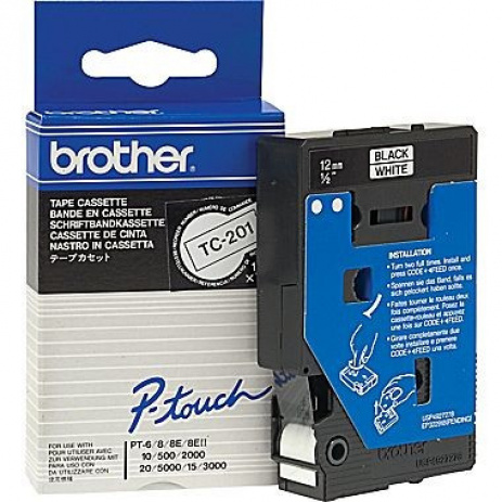 Brother TC-201, 12mm x 7,7m, black text / white tape, original tape