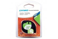 Dymo LetraTag 59421, S0721500, 12mm x 4m černý tisk / bílý podklad, originální páska