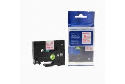 Kompatibilní páska s Brother TZ-222 / TZe-222, 9mm x 8m, červený tisk / bílý podklad