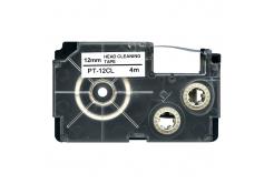 Casio XR-12CL, 12mm x 4m, černý tisk / bílý podklad, čisticí, kompatibilní páska