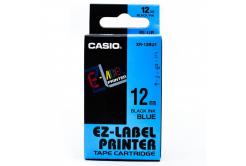 Casio XR-12BU1, 12mm x 8m, černý tisk/modrý podklad, originální páska