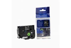 Kompatibilní páska s Brother TZ-355 / TZe-355, 24mm x 8m, bílý tisk / černý podklad