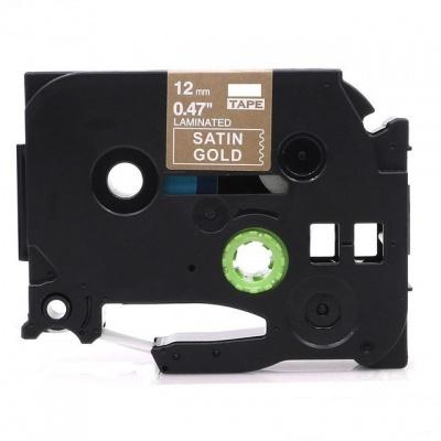 Kompatibilní páska s Brother TZ-MQ835/TZe-MQ835, 12mm x 5m, bílý tisk / světle zlatý podkl