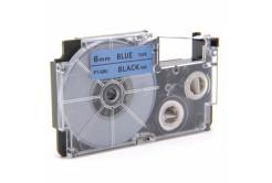 Kompatibilní páska s Casio XR-6BU1, 6mm x 8m černý tisk / modrý podklad