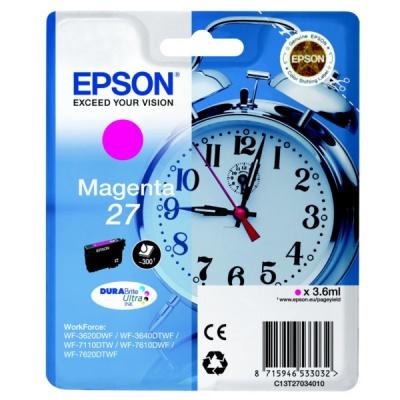 Epson T27034022, 27 purpurová (magenta) originální cartridge, výprodej